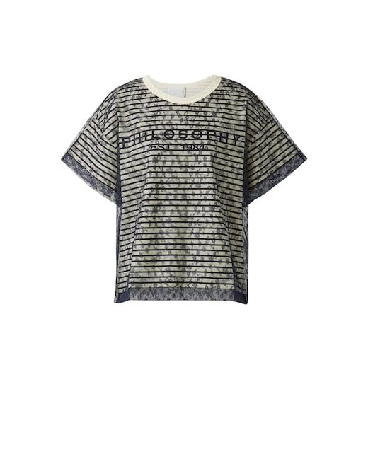 rinascente Philosophy di Lorenzo Serafini T-shirt in cotone a righe con logo e inserto in pizzo