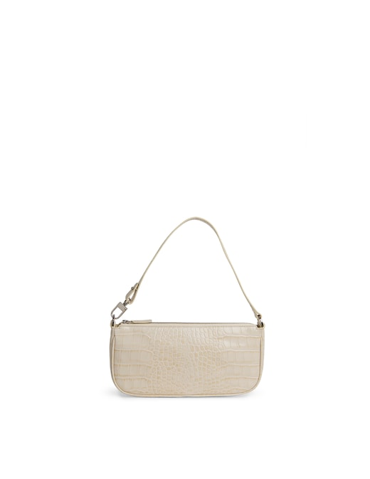 rinascente By Far Rachel Cream Croco Embossed Leather Shoulder Bag