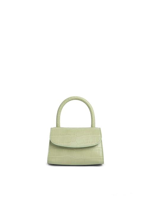 rinascente By Far Mini Sage Green Croco Embossed Leather Handbag