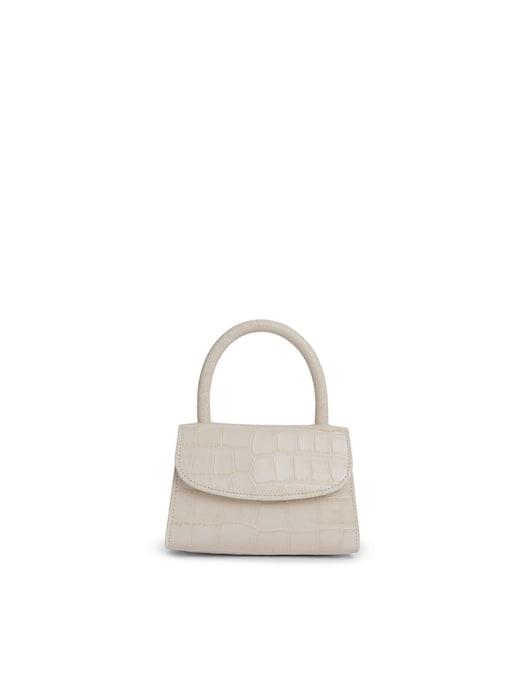 rinascente By Far Mini Cream Croco Embossed Leather Handbag