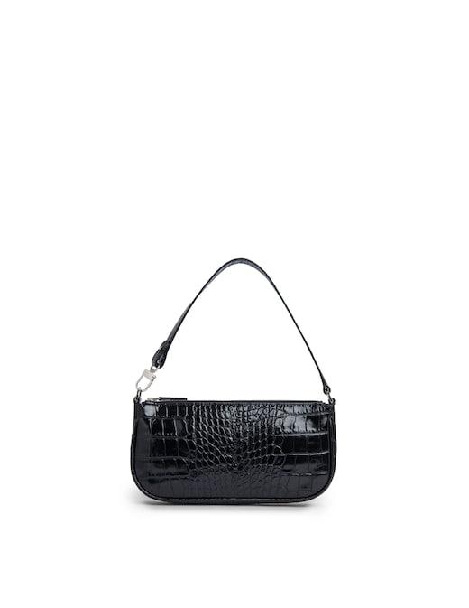 rinascente By Far Rachel Black Croco Embossed Leather Shoulder Bag