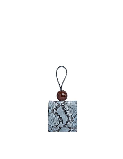 rinascente By Far Ball Blue Snake Print Leather Handbag