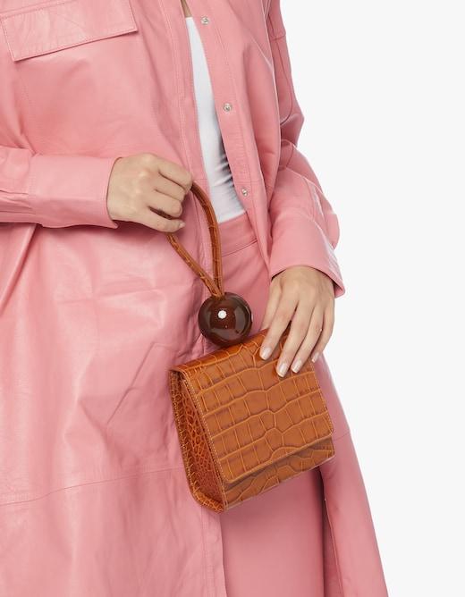 rinascente By Far Ball Tan Croco Embossed Leather Handbag