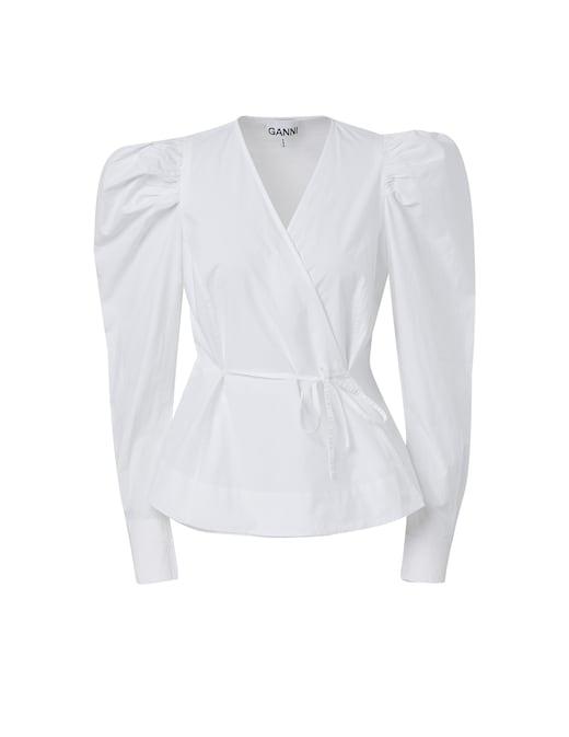 rinascente Ganni Cotton V-neck blouse