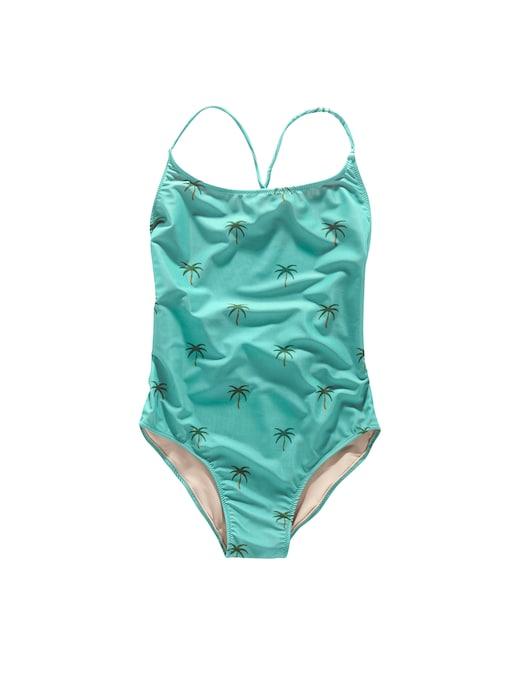 rinascente Oas Blue Palm tie-back one-piece swimsuit