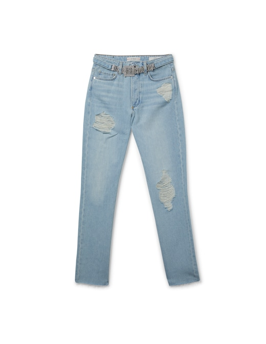 rinascente Guess Jeans Jeans straight girly con rotture e cintura strass
