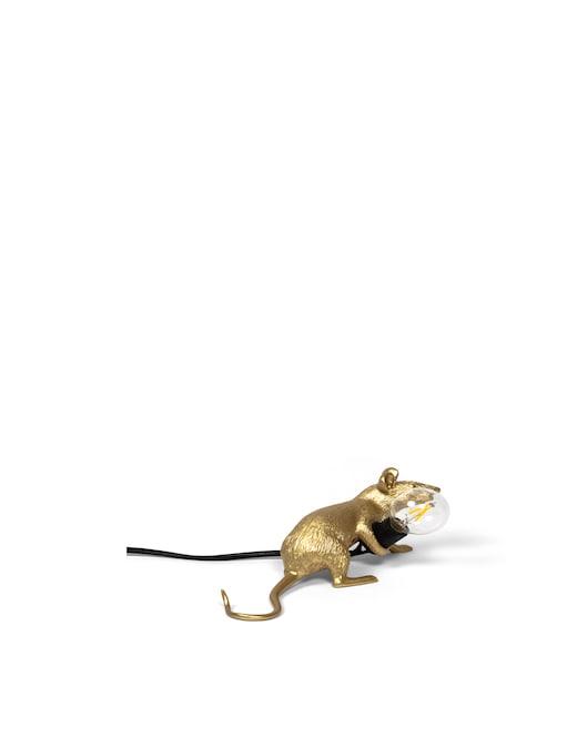 rinascente Seletti Mouse Lampada Lop-Gold Resin Lampada Lying Down Black Cable