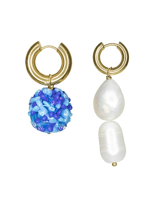 rinascente Timeless Pearly Gold plated hoop earrings with PVC blue ball and pearls