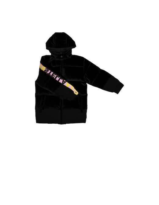 rinascente Stella McCartney Bicolour puffer with logo and detachable hood