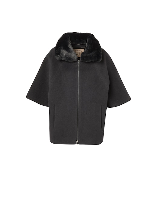 rinascente Cinzia Rocca Wool blend cape with faux fur collar
