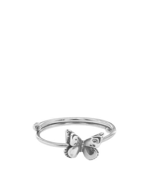 rinascente Maman et Sophie Burnished silver ring with small butterfly