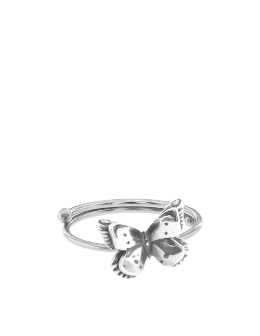 rinascente Maman et Sophie Burnished silver ring with big butterfly