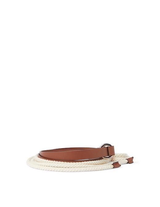 rinascente Peserico Cintura in corda con inserti in pelle
