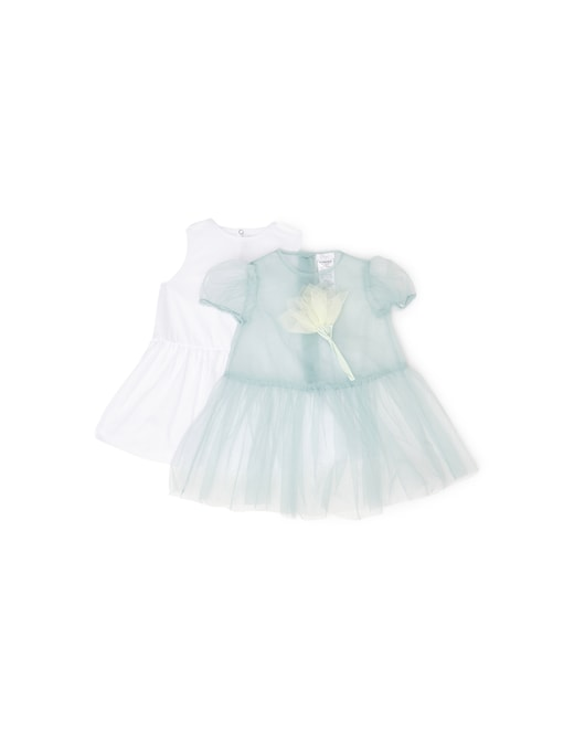 rinascente Il Gufo Tulle short sleeve dress with applied flower