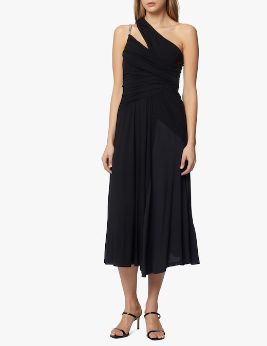 rinascente N°21 Midi dress in jersey with asymmetrical shoulder