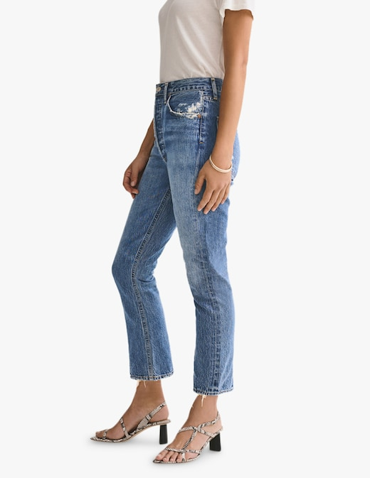 rinascente Agolde Jeans straight a vita alta crop
