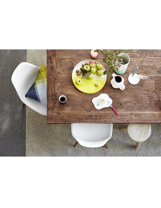 rinascente Vitra Eames Plastic Chair DSW, white shell, golden maple base