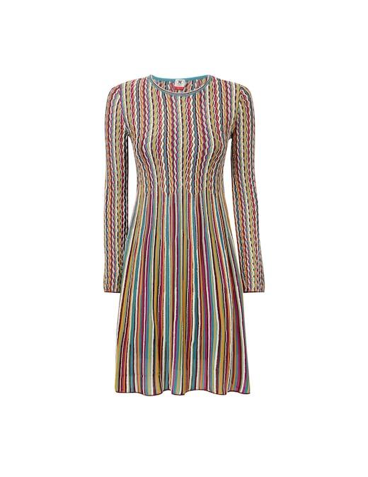 rinascente M Missoni Long sleeved striped mini dress