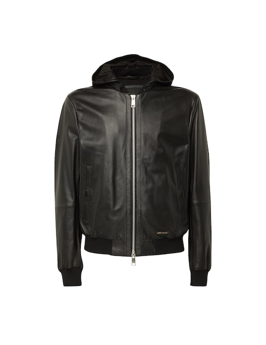 rinascente Armani Exchange Leather hooded jacket
