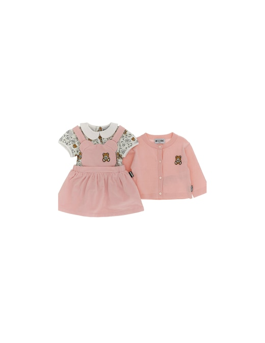 rinascente Moschino Baby set with t-shirt, skirt and cardigan
