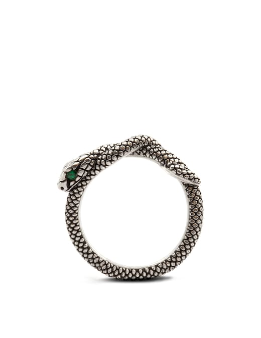 rinascente NOVE25 Fedina serpente con occhi zirconia cubica verde