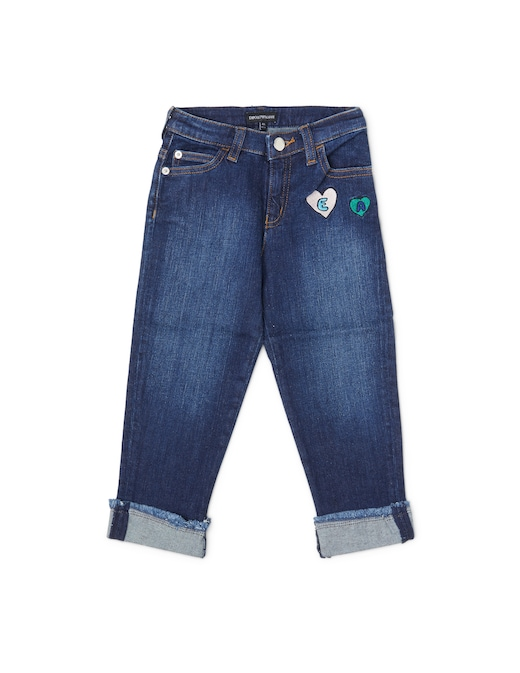 rinascente Emporio Armani Jeans con risvolto e patch cuore logato