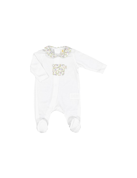 rinascente Filobio Footed onesie with collar and pocket flowers printed