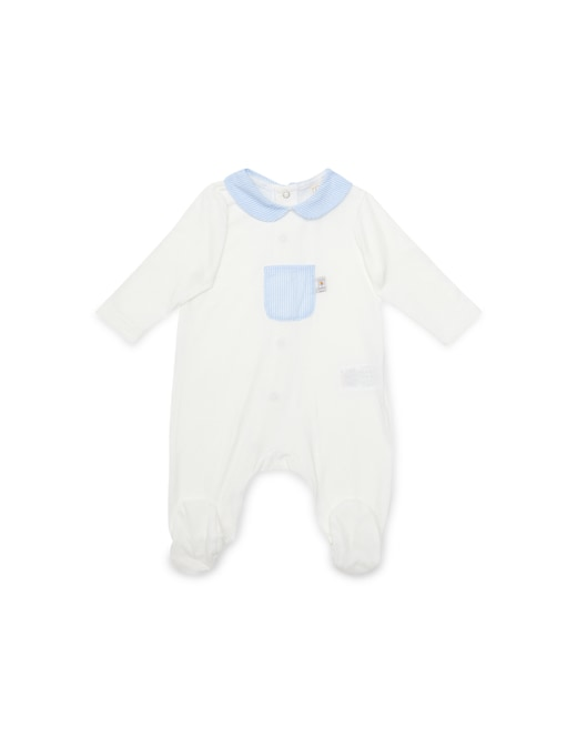 rinascente Filobio Footed onesie with collar and pocket blue striped