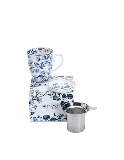 rinascente TOKYO design studio Flora Japonica Mug Giftset Gingko W/Strainer And Tea Tip
