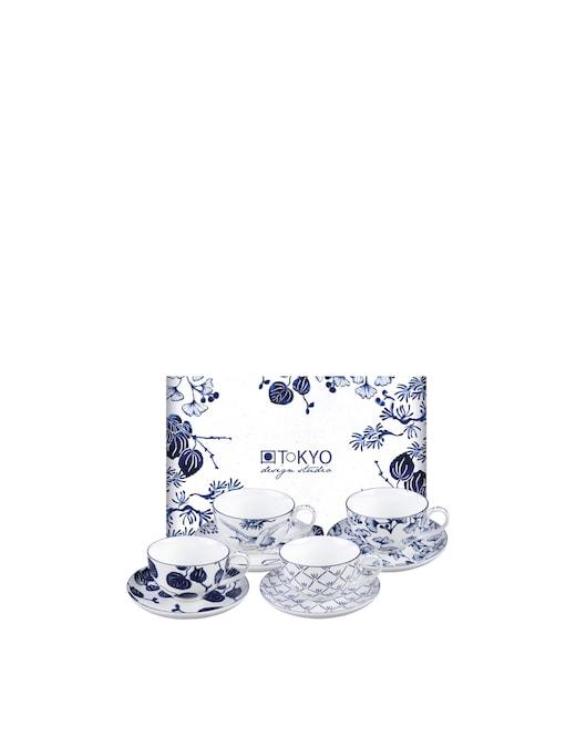 rinascente TOKYO design studio Flora Japonica Cup & Saucer Giftset 8pcs 250ml