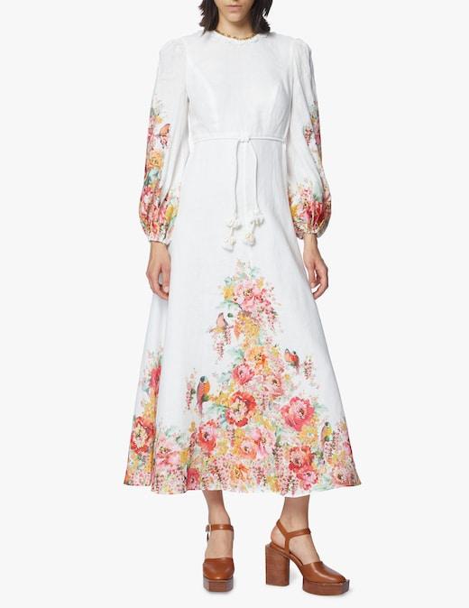 rinascente Zimmermann Linen long sleeved midi dress Mae